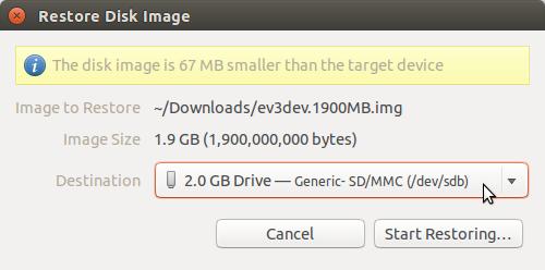 Writing an SD Card Image Using Ubuntu Disk Image Writer