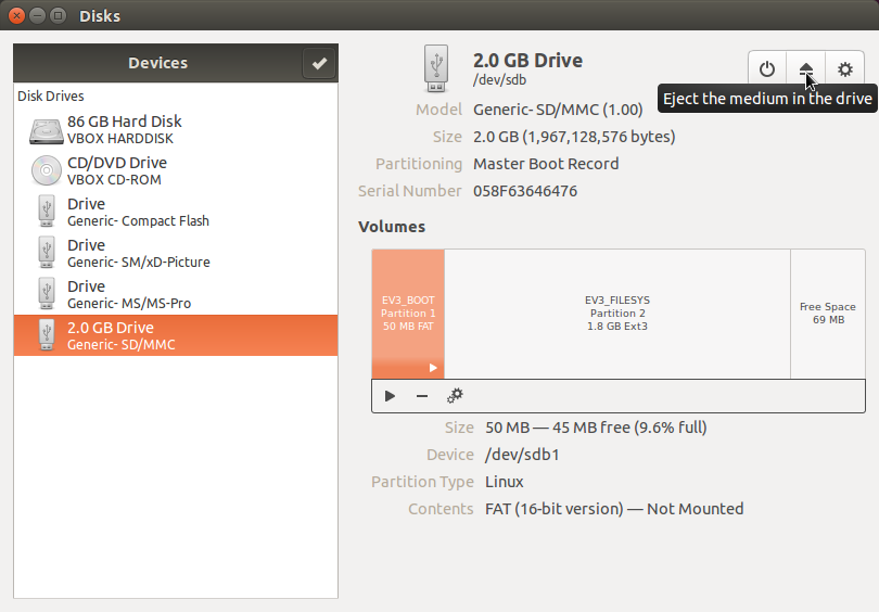 Writing an SD Card Image Using Ubuntu Disk Image Writer